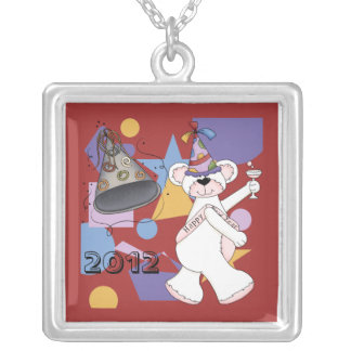 White New Years Bear Square Pendant Necklace