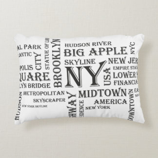 White New York Decorative Pillow