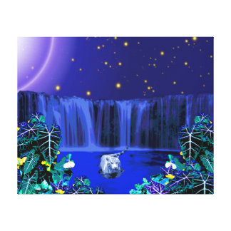 White Night Tiger Tropical Waterfall Canvas Print