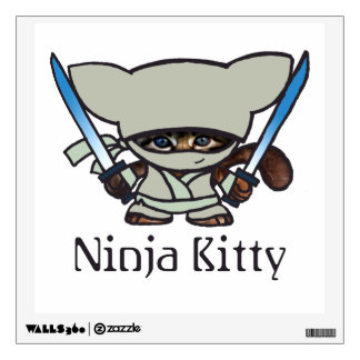 White Ninja Kitty Wall Decal