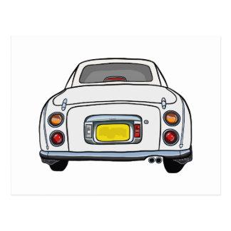 White Nissan Figaro Car postcard