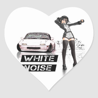 White Noise MX5 Miata Heart Sticker