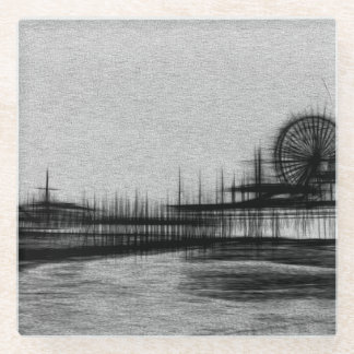 White Noise Santa Monica Pier Glass Coaster
