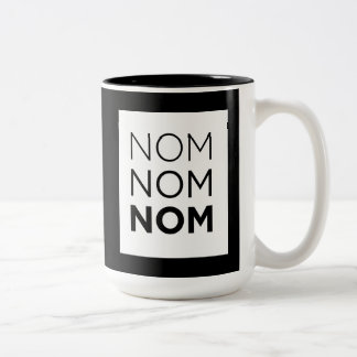White Nom Nom Nom Two-Tone Coffee Mug