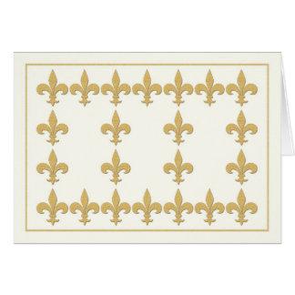 White Note Card with Gold Color Fleur-de-Lis