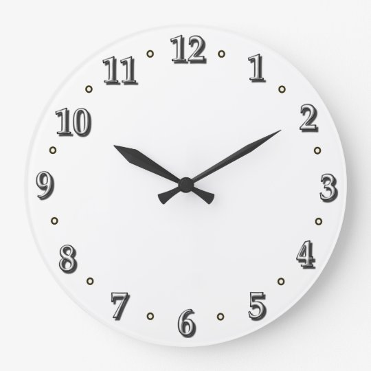 White Numbers Clock Face Template  ZazzleCom
