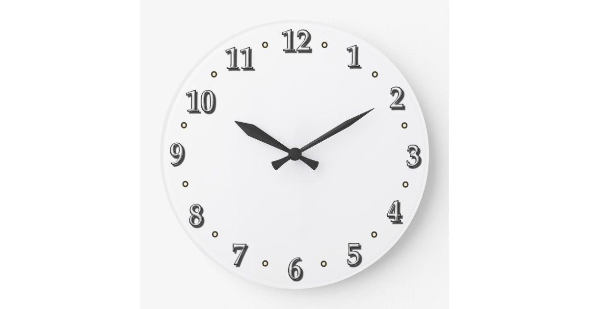 White Numbers Clock Face Template | Zazzle