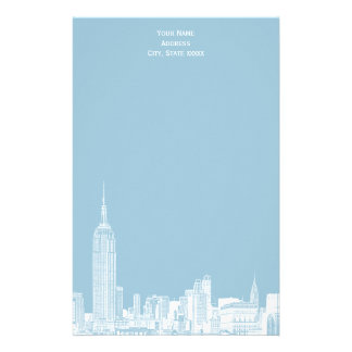 White NYC Skyline Etch 01 Stationery Lt Blue BG