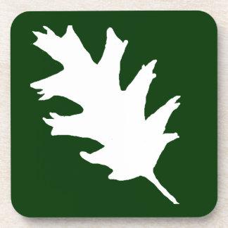 White Oak Leaf On Green Coaster