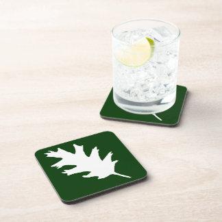 White Oak Leaf On Green Drink Coasters
