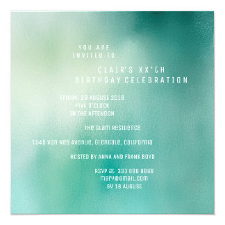 White Ocean Mint Teal Ombre Minimal Vip Party Card