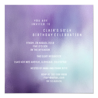 White Ocean Purple Ombre Minimal White Party Card