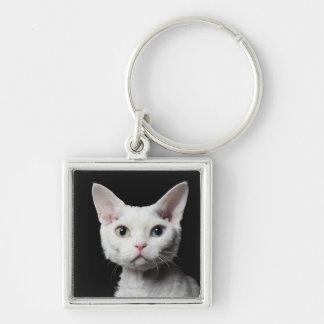 White odd-eyed cat keychains