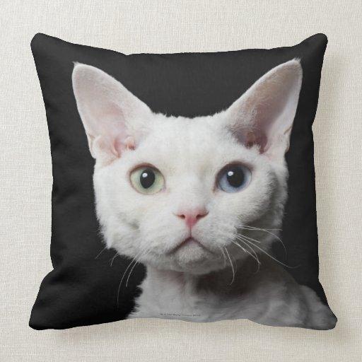 White odd-eyed cat throw pillow
