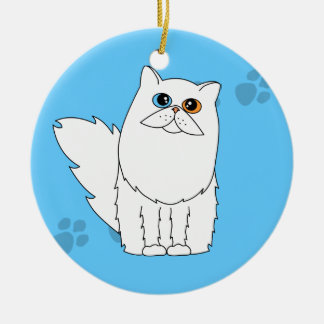 White Odd-Eyed Persian / Longhaired Cat Pawprints Ceramic Ornament