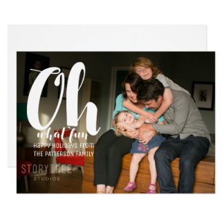 White Oh What Fun Holiday Photo Flat Card