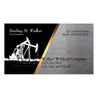 White Oil Pumping Unit Silhouette (Metal Look) Double-Sided Standard Business Cards (Pack Of 100)