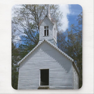 white old church in the mountains mouse pad