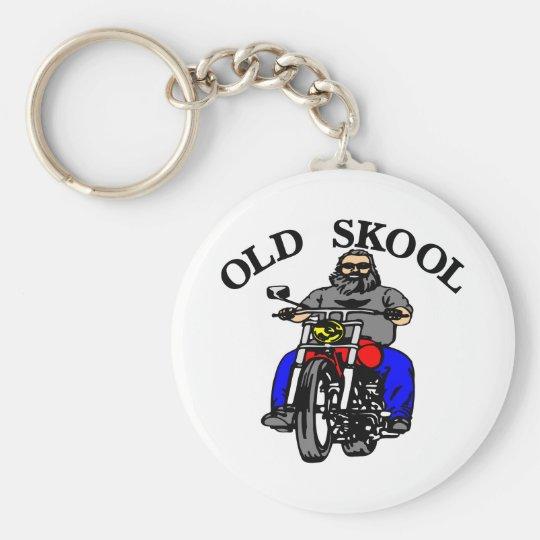 White Old Skool Biker Keychain