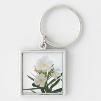 White Oleander Silver-Colored Square Keychain