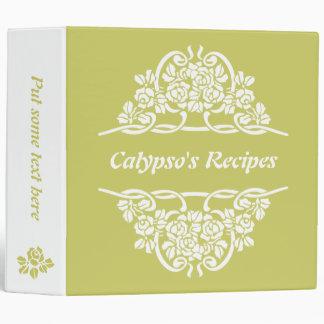 White, olive green rose motif  & ribbons recipe binder