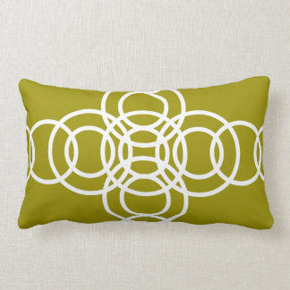 White, Olive Green Trellis Stripe Lumbar Pillow