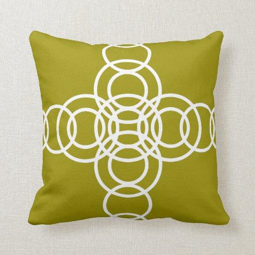 White, Olive Green Trellis Stripe Throw Pillow Zazzle