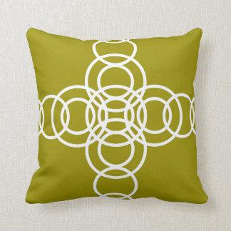 White, Olive Green Trellis Stripe Throw Pillow