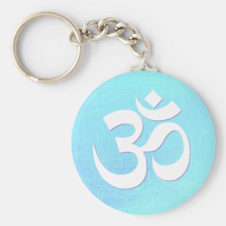White OM Symbol Turquoise Blue Shimmery Look Basic Round Button Keychain