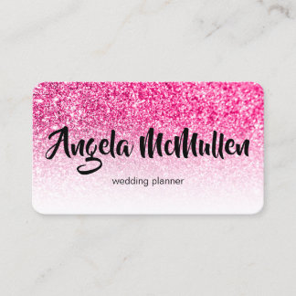 White Ombre Hot Pink Glitter Bokeh Photo Business Card