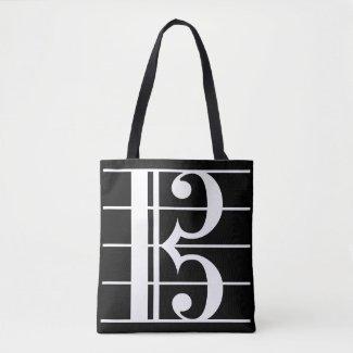 White-on-Black Alto Clef Tote Bag