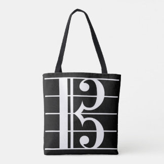 White-on-Black Alto Clef Tote Bag