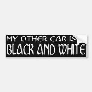 WHITE ON BLACK B&W BUMPER STICKER