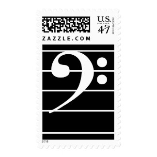 White-on-Black Bass Clef on Staff Postage