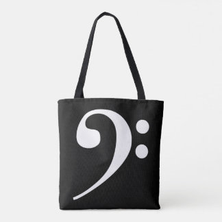 White-on-Black Bass Clef Tote Bag