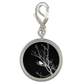 White On Black Bird Silhouette - Charms