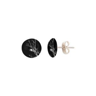 White On Black Bird Silhouette - Earrings