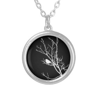 White On Black Bird Silhouette - Silver Plated Necklace