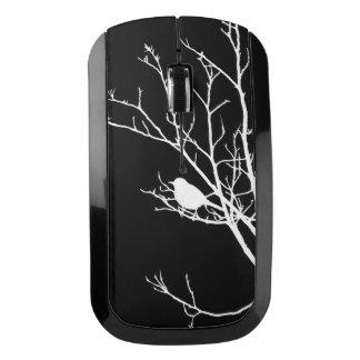 White On Black Bird Silhouette - Wireless Mouse