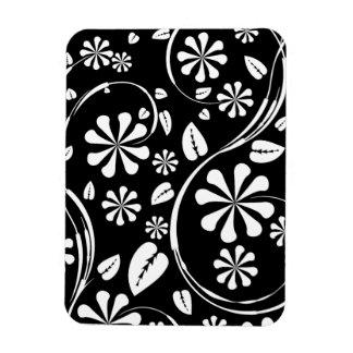 White on Black Daisy Flower Pattern Magnets