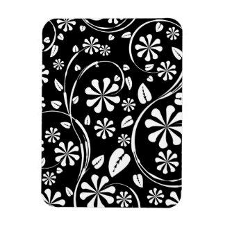 White on Black Daisy Flower Pattern Vinyl Magnet