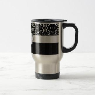 White on Black Damask and Stripes with Monogram Travel Mug