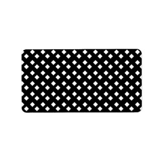 White on Black Diamond Design Label