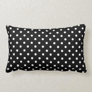 White on Black Dot Design Lumbar Pillow