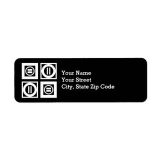 White on Black Equal Sign Geometric Pattern Label