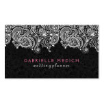 White On Black Floral Paisley Lace Double-Sided Standard Business Cards (Pack Of 100)