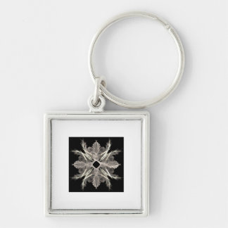 White on Black Fractal Art Design Silver-Colored Square Keychain
