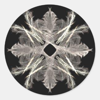 White on Black Fractal Art Design Classic Round Sticker