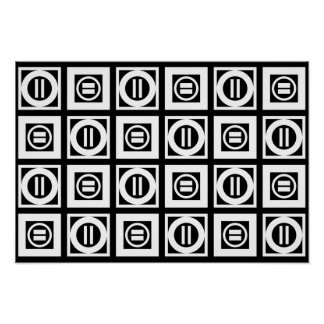 White on Black Geometric Equal Sign Pattern