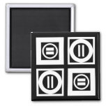 White on Black Geometric Equal Sign Pattern 2 Inch Square Magnet